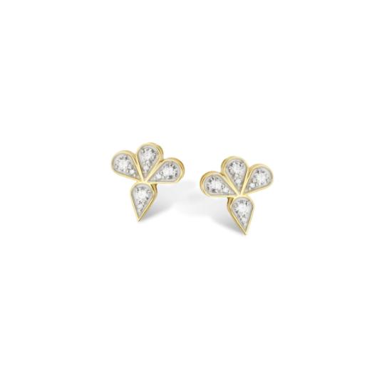 Brinco Vintage Pétalas de Ouro 18K e Diamante - Coleção Vitrais