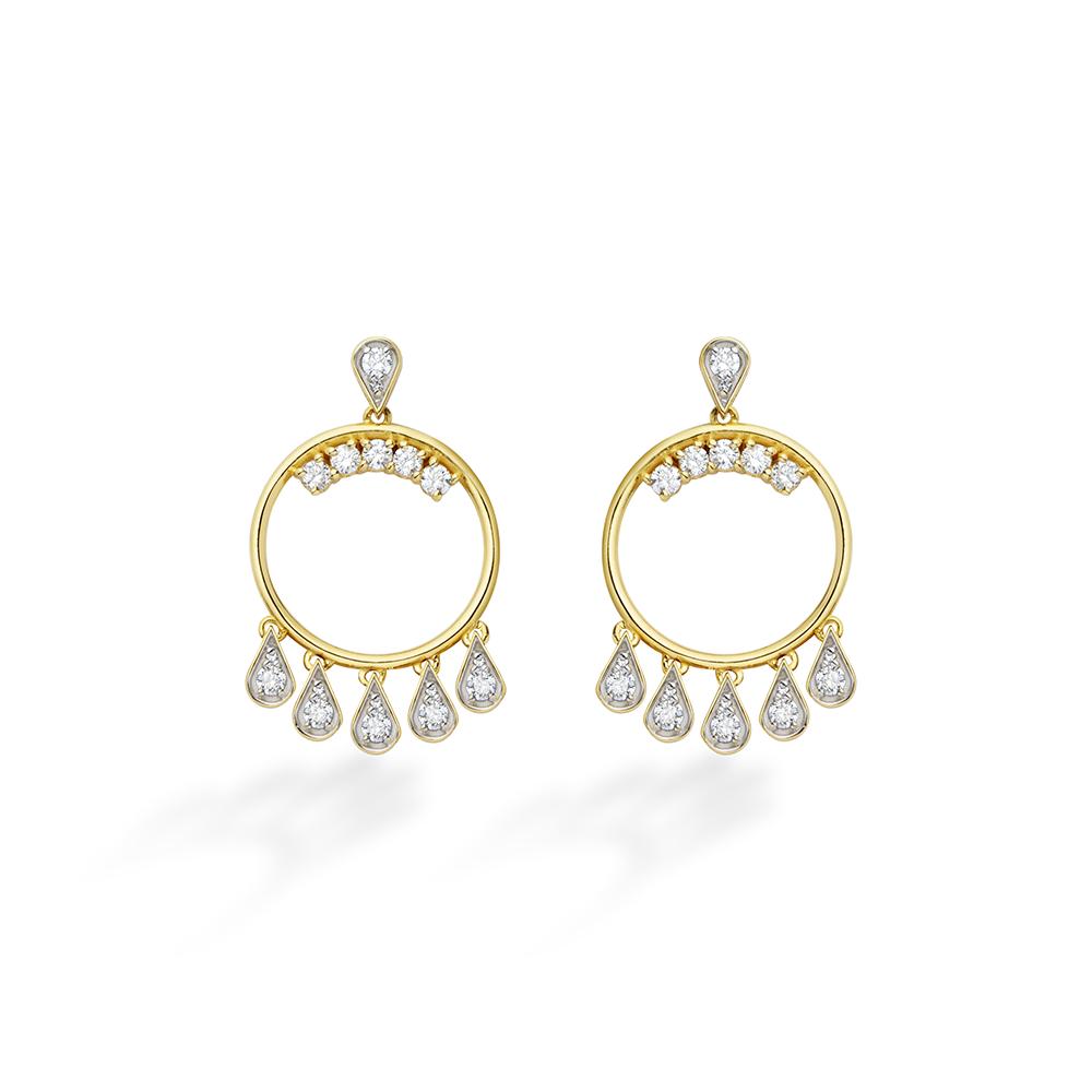 Brinco de Ouro 18K Safira Branca e Diamante - Coleção Vitrais
