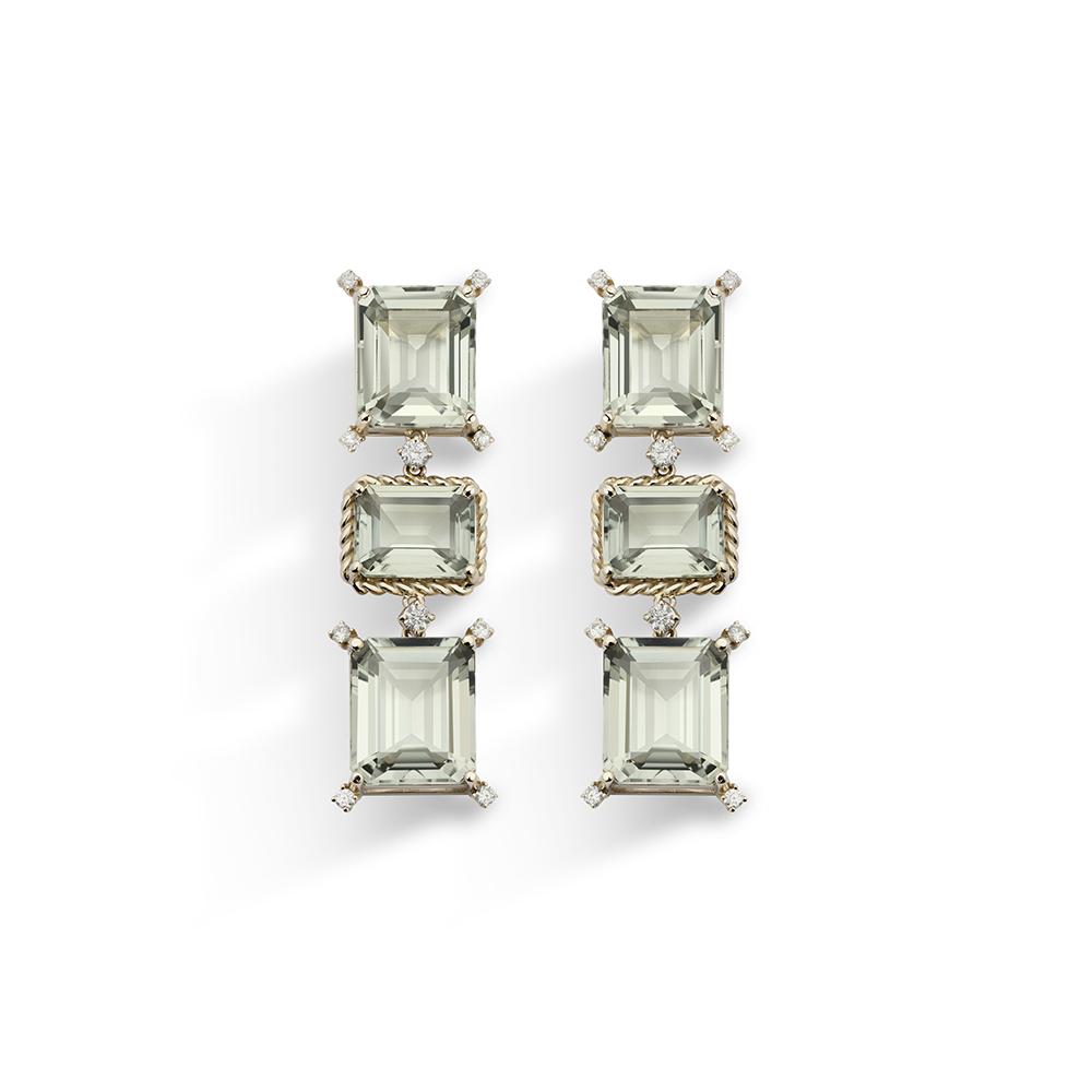 Brinco de Ouro Antique 18K Prasiolita e Diamante - Coleção Versailles
