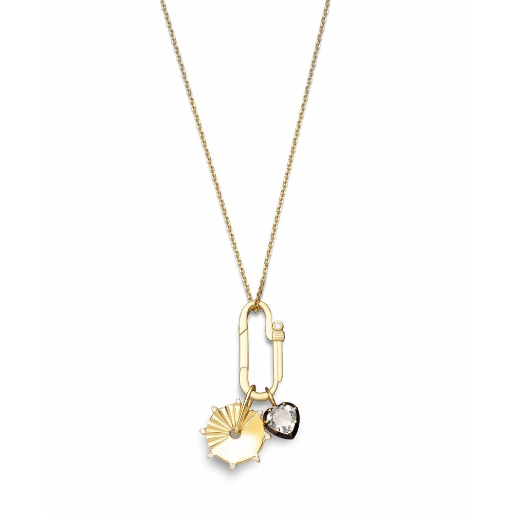 Colar Amuleto de Prata com Banho de Ouro 18K Diamante e Quartzo - Crush Collection