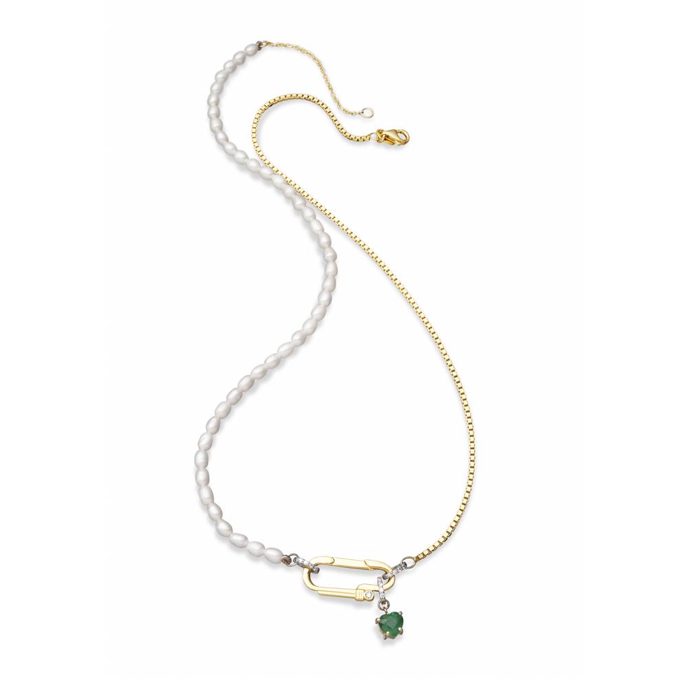 Colar Esmeralda em Prata com Banho de Ouro 18K Esmeralda, Diamante e Pérola Biwa - Crush Collection