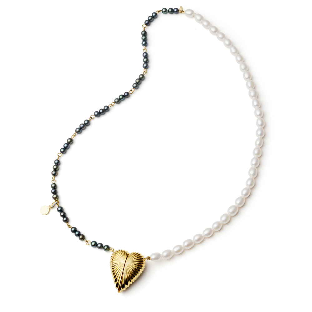 Colar Coração em Prata com Banho de Ouro 18K Diamante e Pérola Biwa - Crush Collection