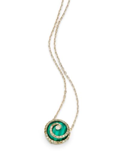 Colar de Ouro Antique 18K com Malaquita e Diamante - Coleção Caracol