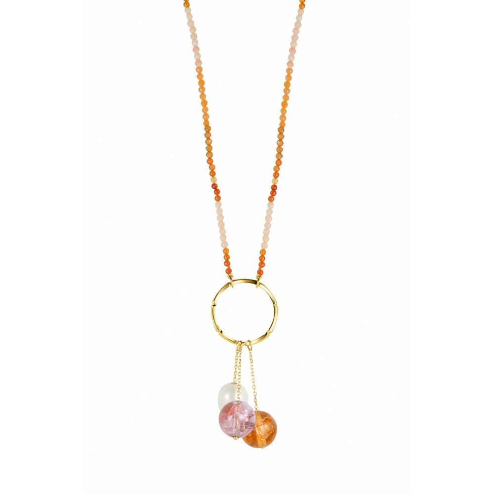 Colar de Ouro 18K Pérola, Quartzo, Coral, Aventurina e Ágata - Coleção Íris