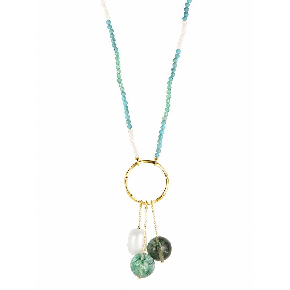 Colar de Ouro 18K Pérola, Quartzo, Turquesa, Pedra da Lua, Coral Branco - Coleção Íris