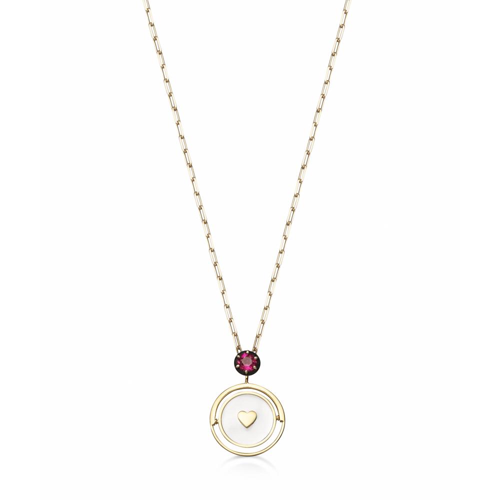 Colar Medalha em Prata com Banho de Ouro 18K Diamante e Rubelita - Crush Collection