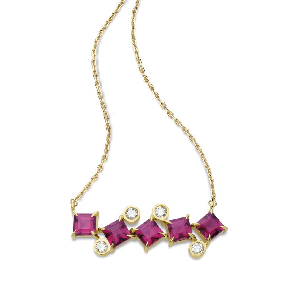 Colar de Ouro 18K Rubelita e Diamante - Coleção On and Off
