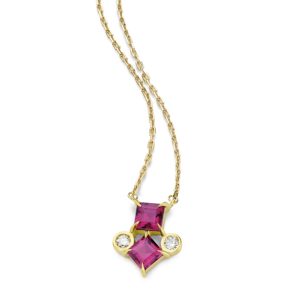 Colar de Ouro 18k Rubelita e Diamante