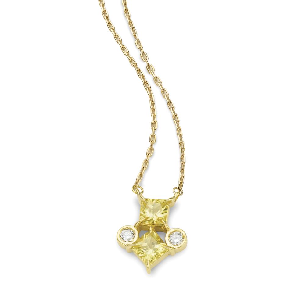 Colar de Ouro 18K Safira Amarela e Diamante