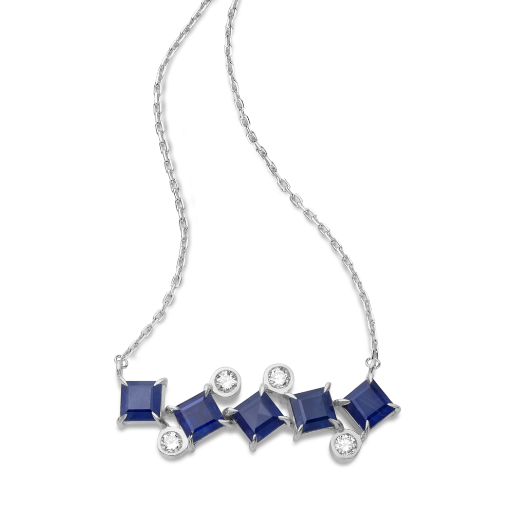 Colar de Ouro Branco 18K  Safira Azul e Diamante - Coleção On and Off