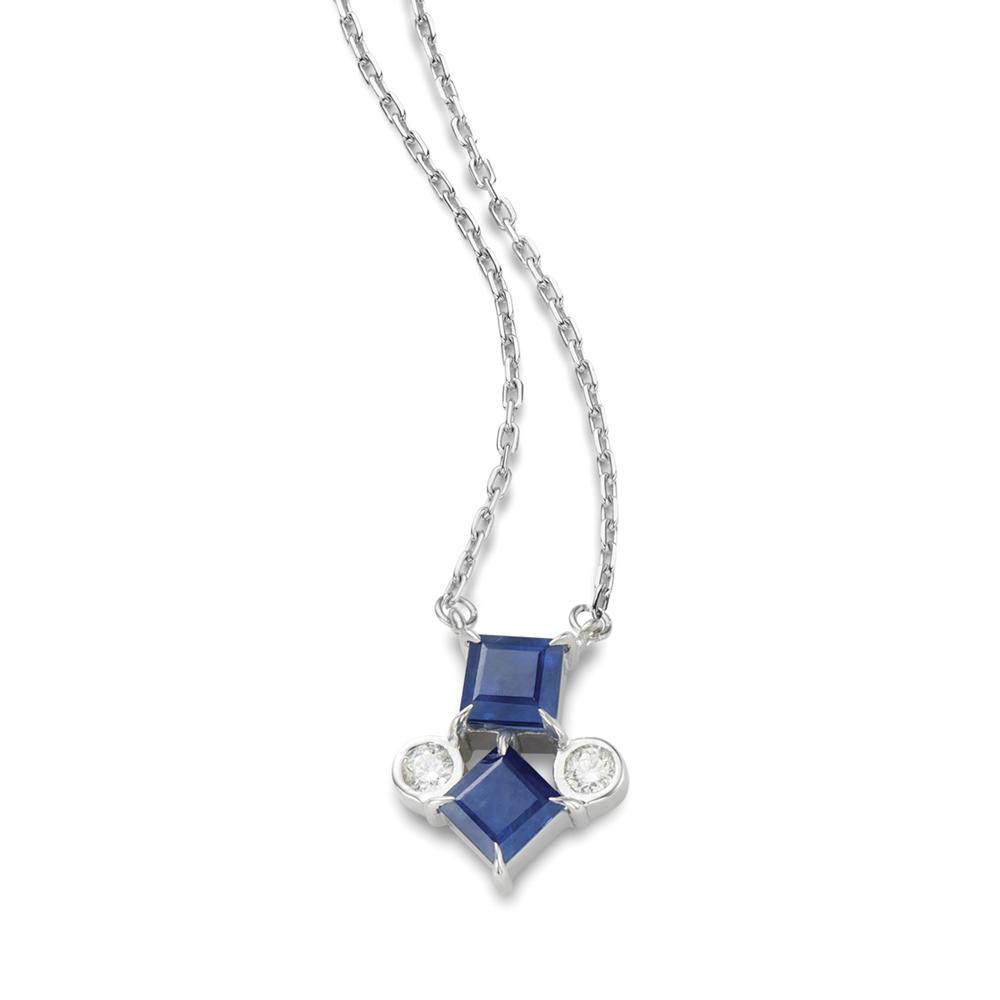 Colar de Ouro Branco 18K Safira Azul e Diamante