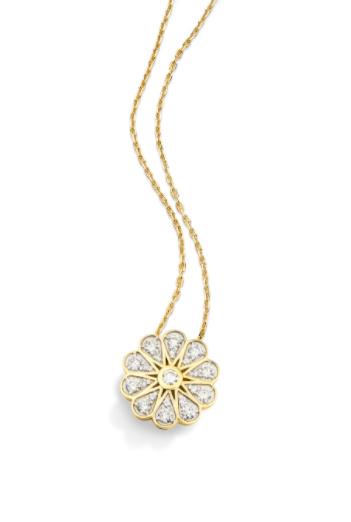 Colar Vintage Flor de Ouro 18K e Diamante - Coleção Vitrais
