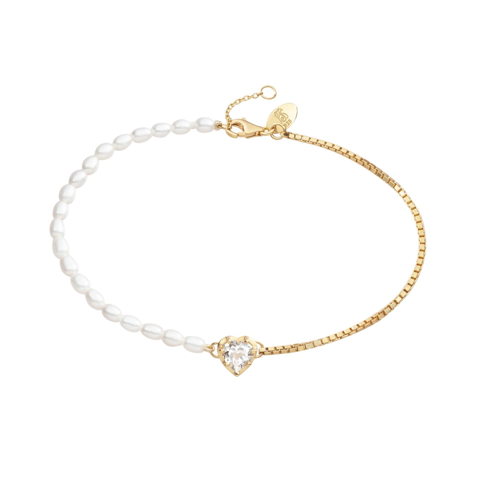 Pulseira Crush Coração de Prata com Banho de Ouro 18k e Quartzo - Crush Collection