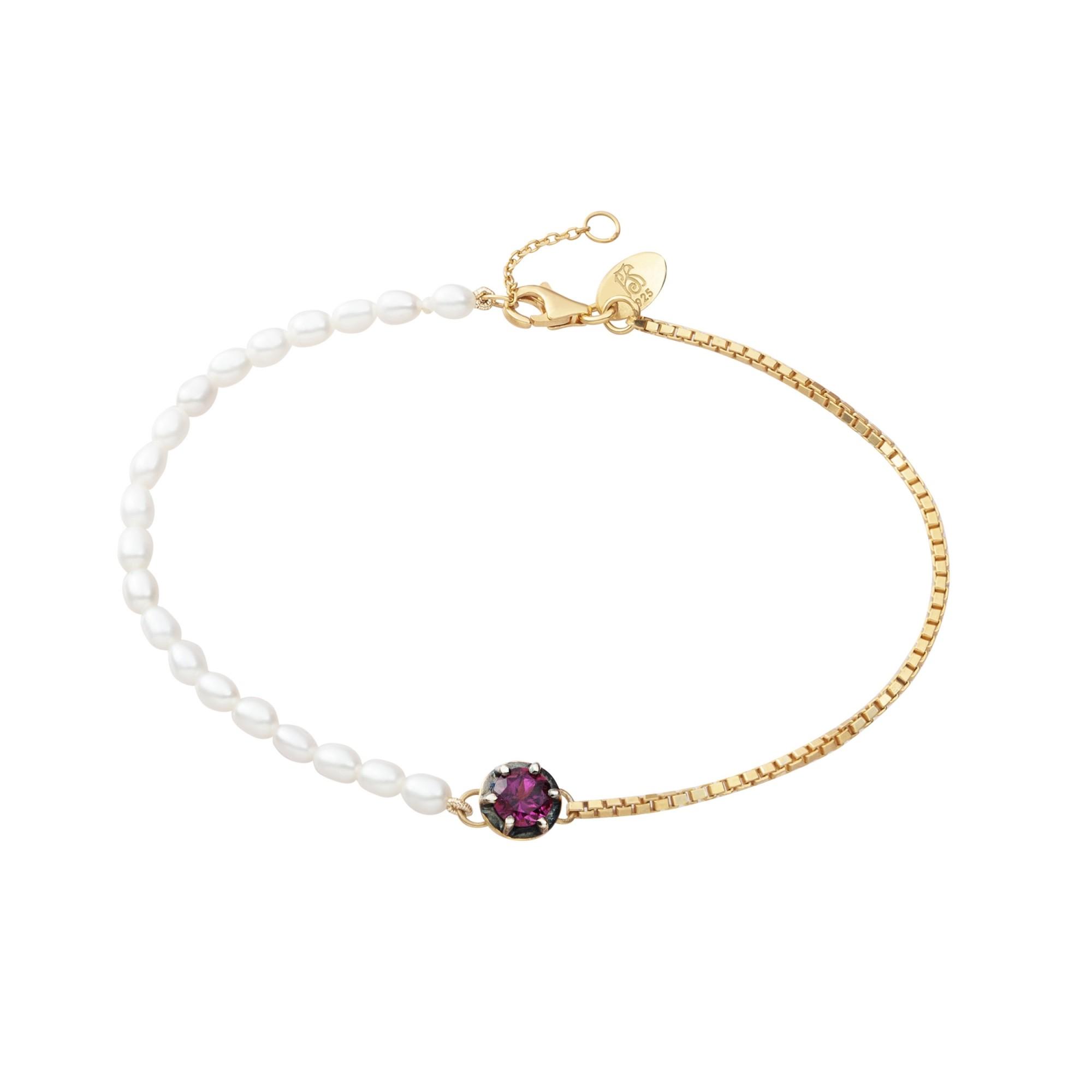 Pulseira Pink Crush em Prata com Banho de Ouro 18k e Rubelita - Crush Collection