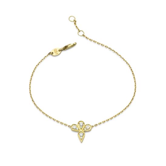 Pulseira Vintage Pétalas de Ouro 18K e Diamante - Coleção Vitrais