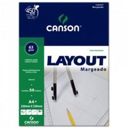Bloco Canson A4 Branco 50 Folhas Layout Margeado