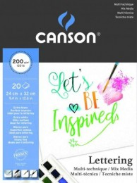 Bloco Lettering Canson Mix Media 200g/m² 20 folhas