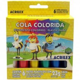 Cola Colorida Acrilex c/ 6 cores 02606