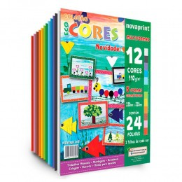 Coleção Eco Cores 12 Cores 230mmx320mm 100g 24Fls. NovaPrint