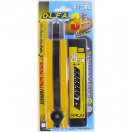 Estilete Olfa Heavy Duty H-1 + 3 laminas 25 mm BB