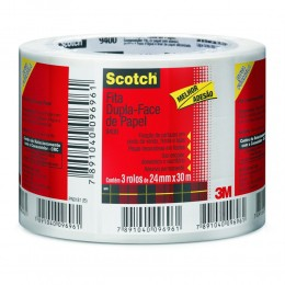 Fita Dupla Face 3M Scotch 24 mm x 30 m - PACK COM 3 UN.