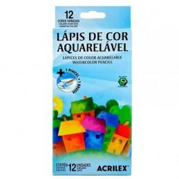 Lápis de Cor Acrilex 12 Cores Aquarelável - Ref. 09652
