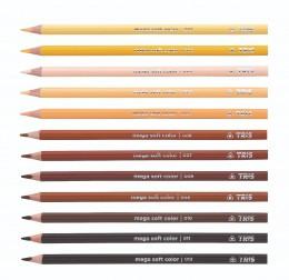 Lápis de Cor Tris Mega Soft Tons de Pele - 12 cores