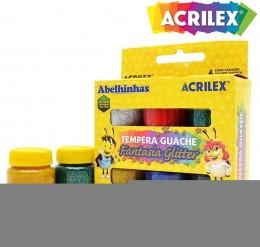 Tinta Tempera Guache Fantasia Glitter Acrilex 6 cores 02001