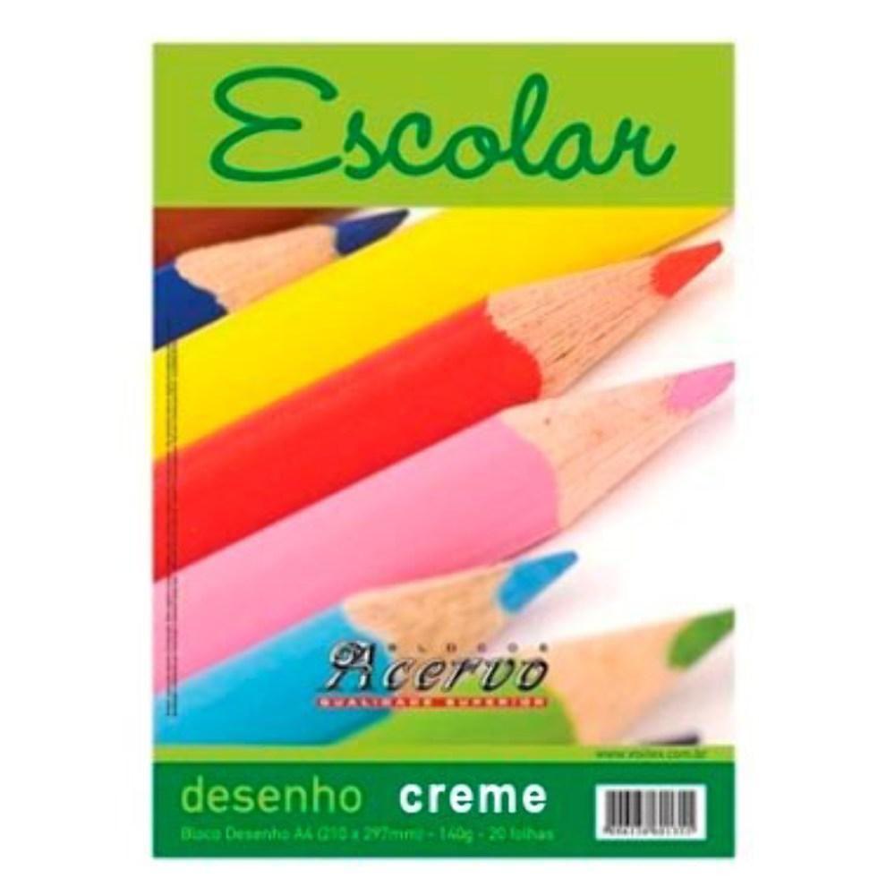 Bloco Acervo Escolar A4 Creme 20 Folhas Desenho