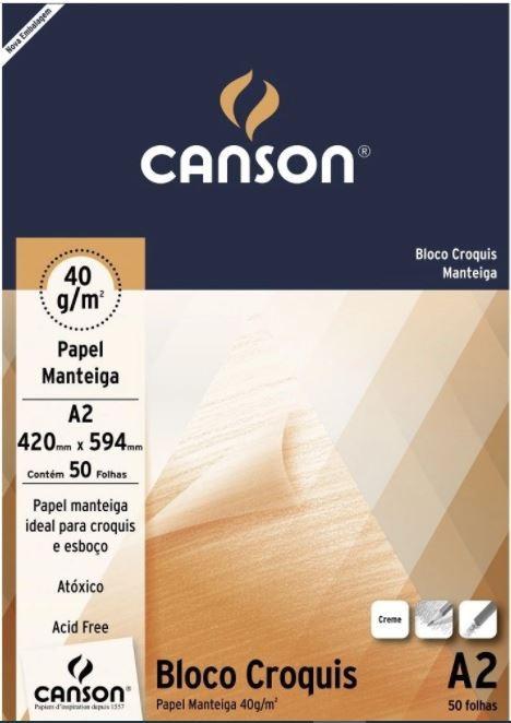 Bloco Canson A2 Manteiga 50 Folhas Croquis
