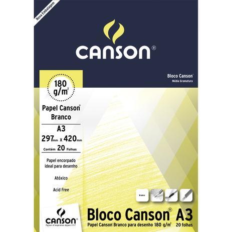 Bloco Canson A3 Branco 20 Folhas Desenho 180g/m²