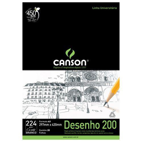 Bloco Canson A3 Branco 20 Folhas Desenho 200