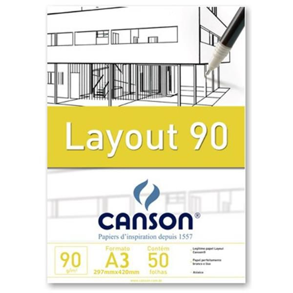 Bloco Canson A3 Branco 50 Folhas Layout 90