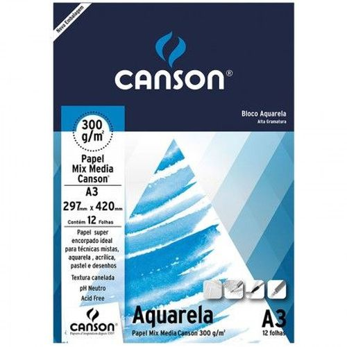 Bloco Canson A3 Branco Aquarela 12 Folhas 300g