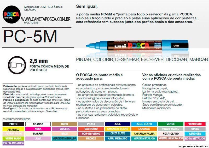 Caneta Posca Uniball PC-5M - Cinza Ardósia