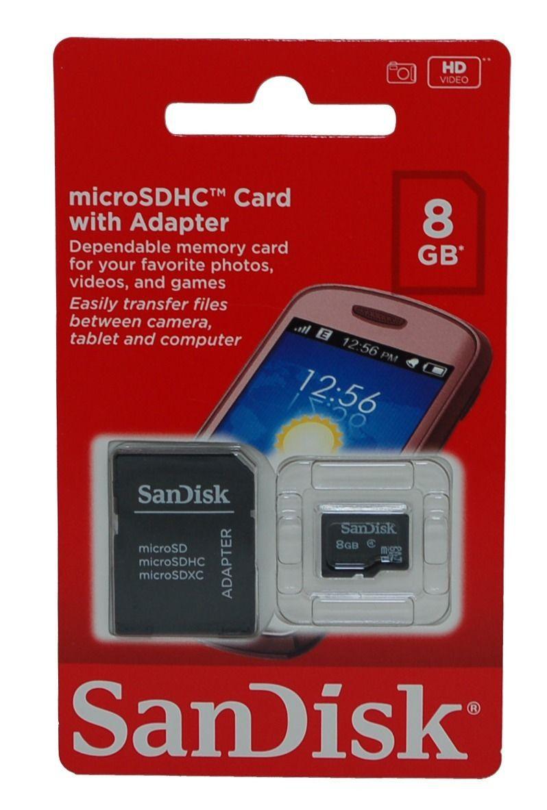 Cartão De Memória 8GB SanDisk microSDHC