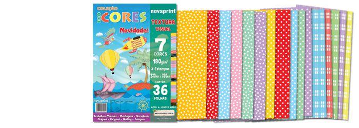 Coleção Ecocores Textura Visual 36 fls. Novaprint