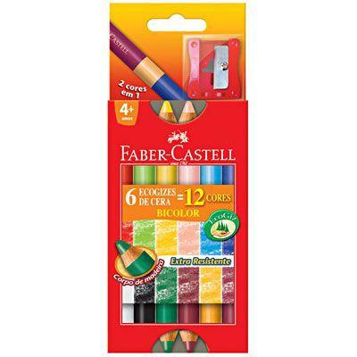 EcoGizes de Cera Faber-Castell Bicolor 12 Cores - HT141412