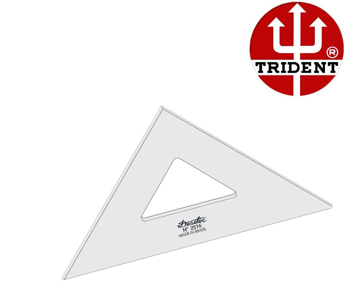 Esquadro de Acrílico Trident 16cm - sem Escala - Ref.2516