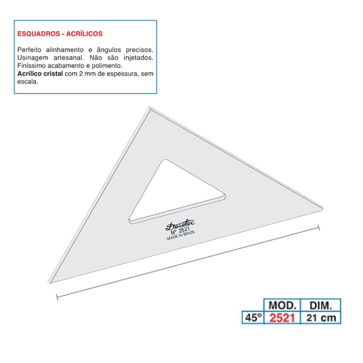 Esquadro de Acrílico Trident 21cm - sem Escala - Ref.2521
