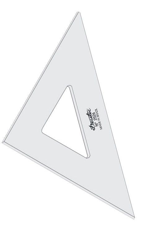 Esquadro de Acrílico Trident 26cm - sem Escala - Ref.2526