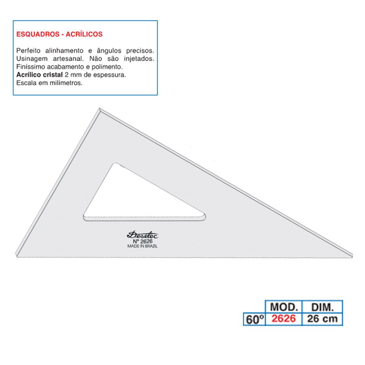 Esquadro de Acrílico Trident 26cm - sem Escala - Ref.2626