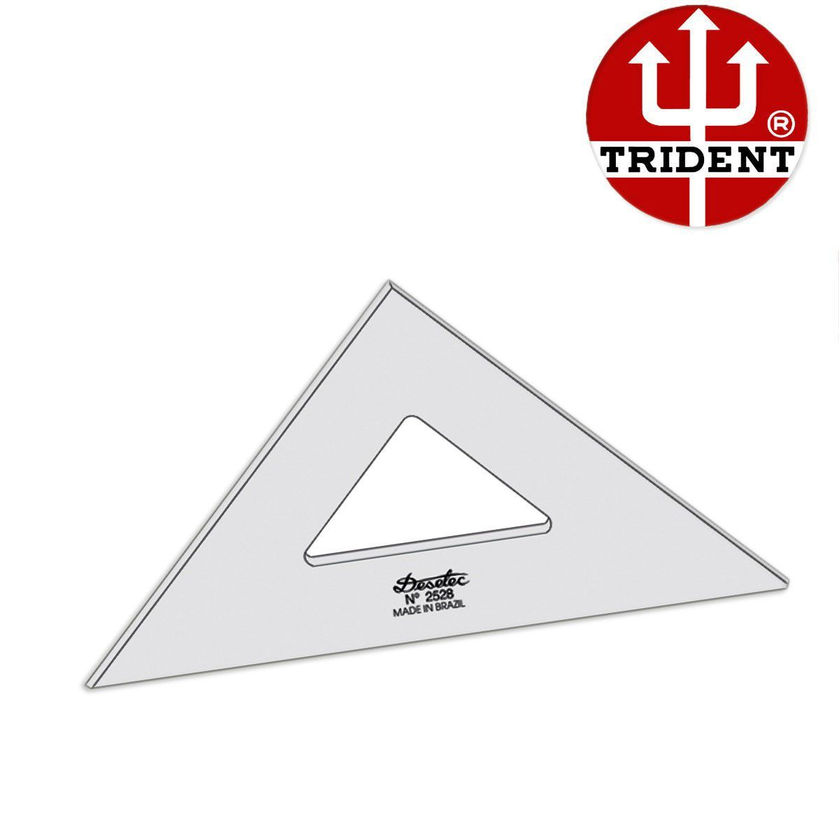 Esquadro de Acrílico Trident 28cm - sem Escala - Ref.2528