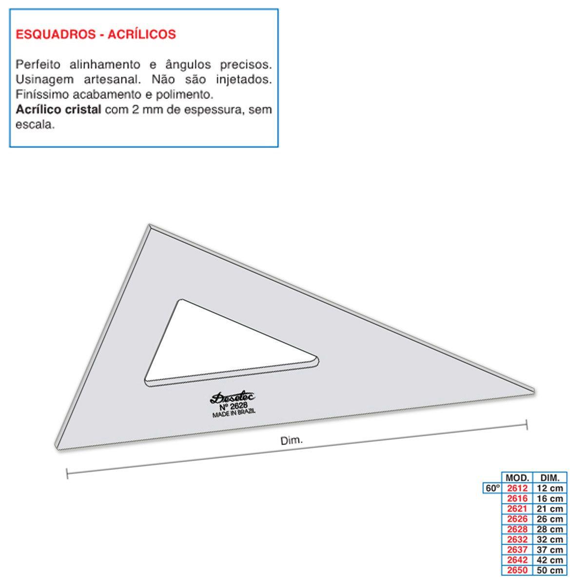 Esquadro de Acrílico Trident 28cm - sem Escala - Ref.2628