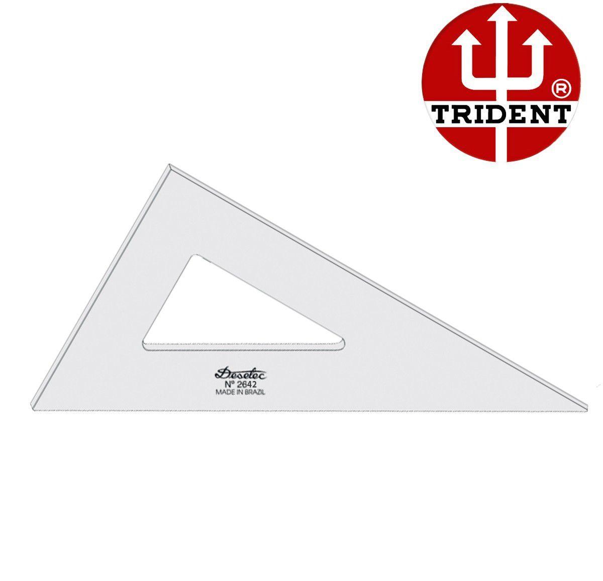 Esquadro de Acrílico Trident 42cm - sem Escala - Ref.2642