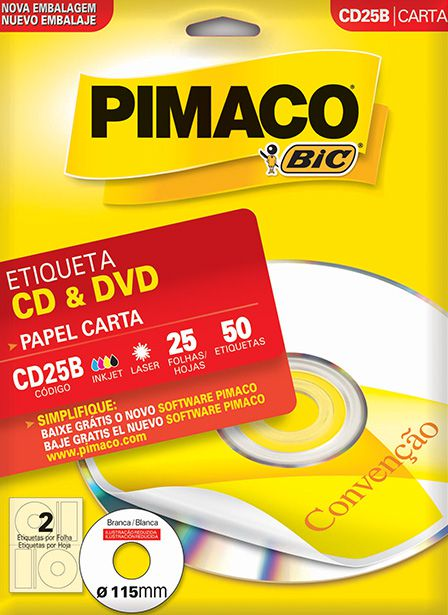 Etiqueta CD e DVD Pimaco CD25B - 115mm