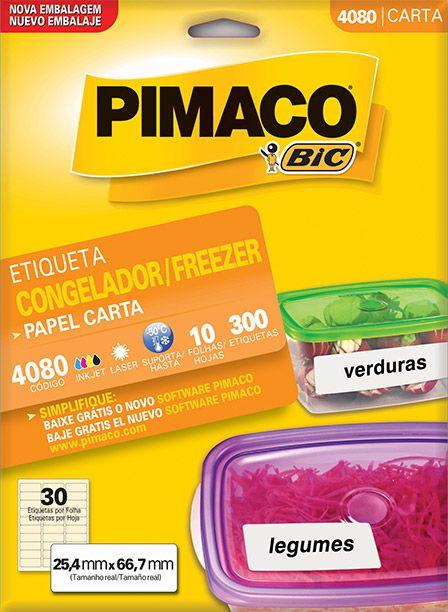Etiqueta Congelador/Freezer Pimaco 4080 - 25,4 mm x 66,7 mm