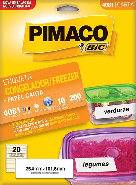Etiqueta Congelador/Freezer Pimaco 4081 - 25,4 mm x 101,6 mm