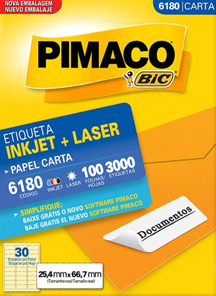 Etiqueta Inkjet/Laser Pimaco 6180 - 25,4 mm x 66,7 mm