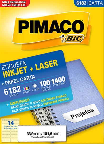 Etiqueta Inkjet/Laser Pimaco 6182 - 33,9 mm x 101,6 mm